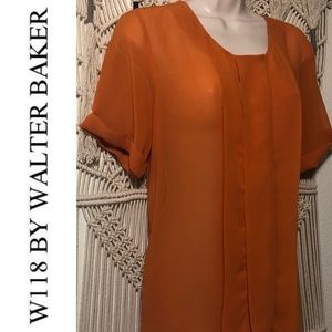W118 by WALTER BAKER sheer 60's orange blouse